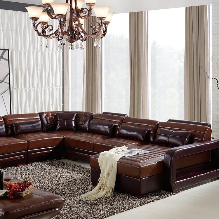 Oturma odası u şekli deri ahşap köşe kanepe kanepe divano