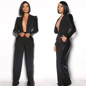 Side Sequin Women Blazer Suits Wide Led Pants 2 Piece Set Outfits Women Two Piece Set Clothing