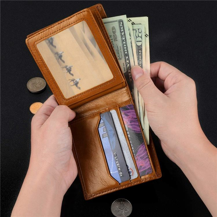 Fashion Genuine Leather Rfid Zipper Men Wallets