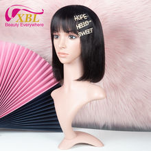 Wholesale Brazilian human hair bob wig with bangs,short bob wig for black women, pre plucked virgin hair lace wig with baby hair