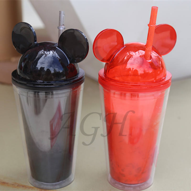 Wholesale New double wall Acrylic Cups BPA free Clear Water 16oz Plastic Dome Mouse Ears Lid Tumbler with straw