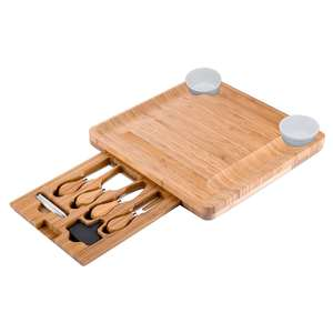 Natural Bamboo Cheese Board - Platter with Hidden Drawer for Cutlery Set - Perfect Gift Idea