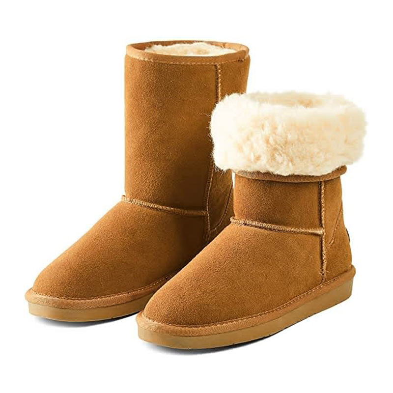 Wholesales Warm Snow OEM Custom Ankle Snow Leather Boots Furry Boots for women Women's Fur Boots