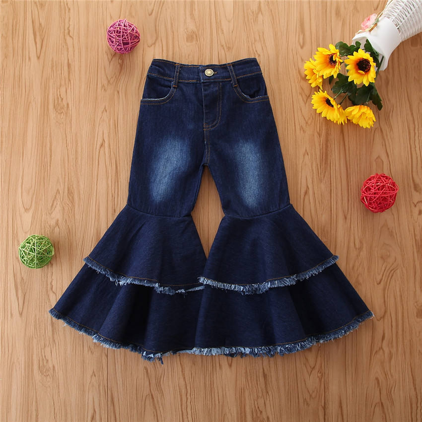 Fashion Toddler Girl Double Layers Bell-Bottoms Jeans Children Girl Blue Cute Washed Flared Denim Trousers for 2-6 Years