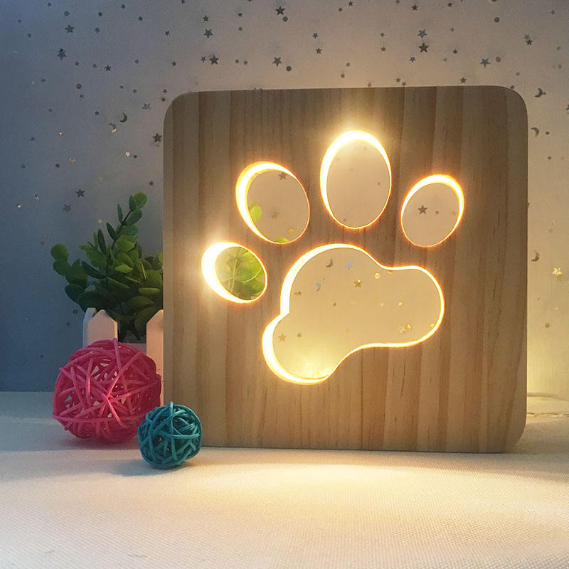 Solid Wood Cute Paw Print 3D Light Creative Paw Print Lamp Wooden LED Sleeping Table Lamp for Bedroom Living Room