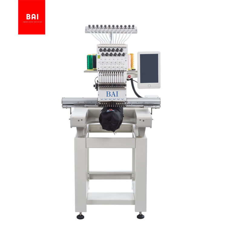 BAI building embroidery shop single head 12 needles computerized c ap embroidery machine