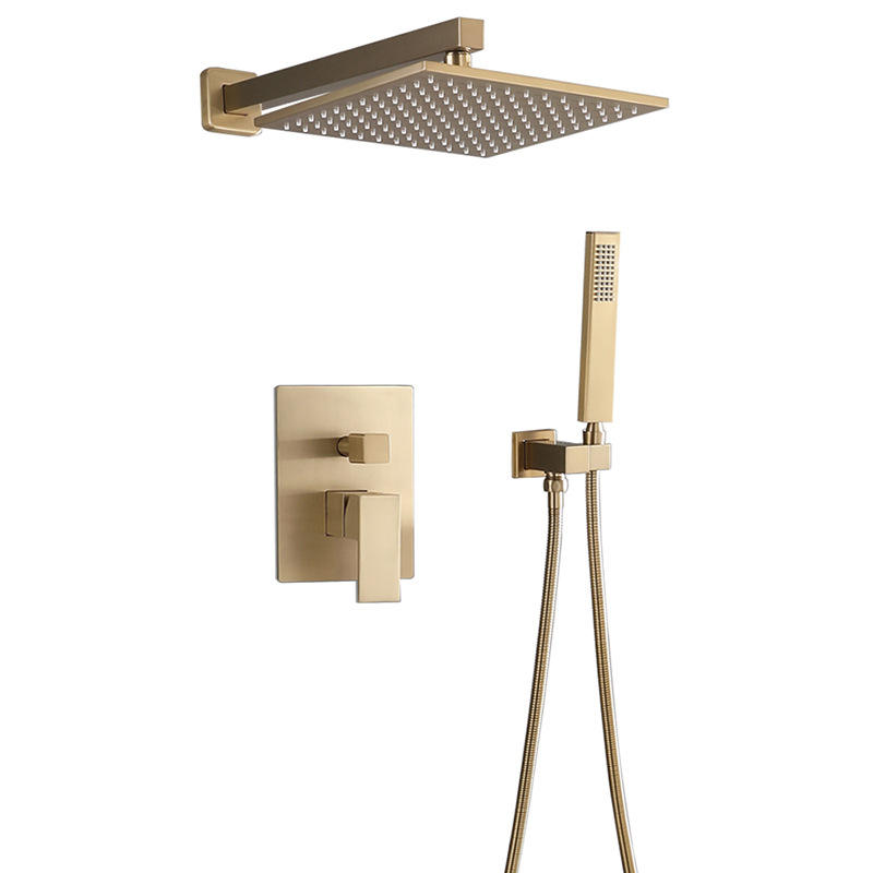 Brushed Gold Wall Mounted Brass Shower Head Set Shower System