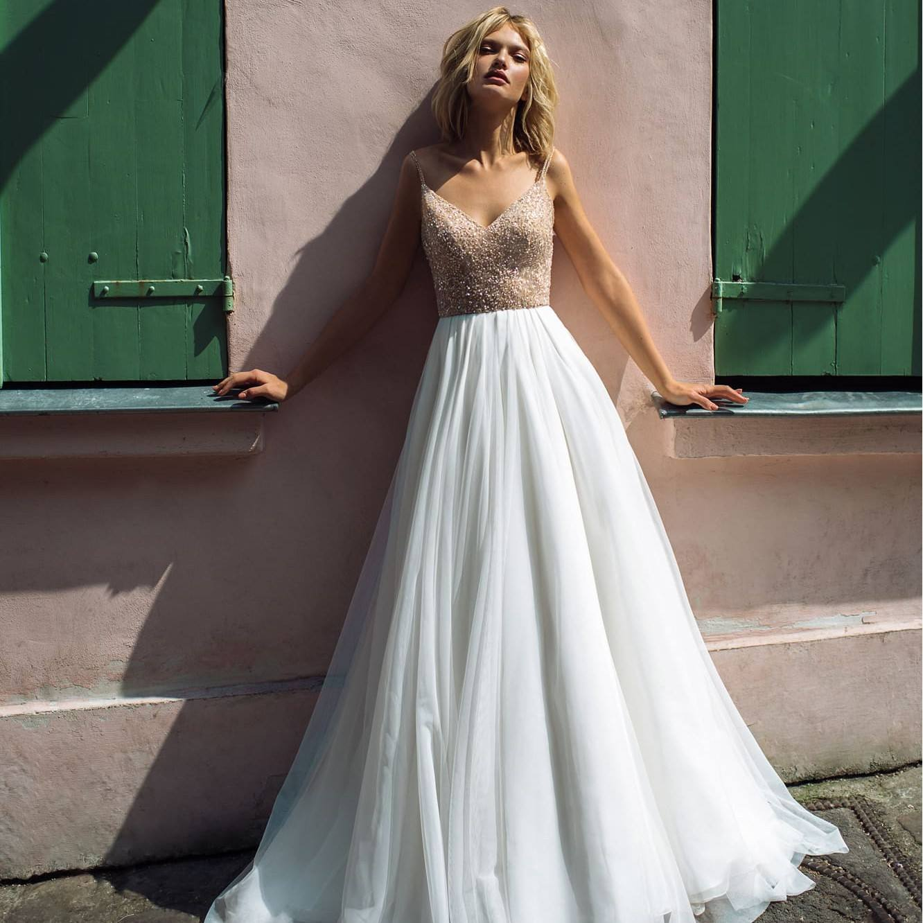 Beach illusion beaded bodice wedding dress, sexy charming beading bodice wedding dress