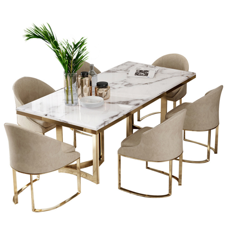Scandinavian marble dining table and chair combination light luxury post-modern minimalist restaurant home risotto table