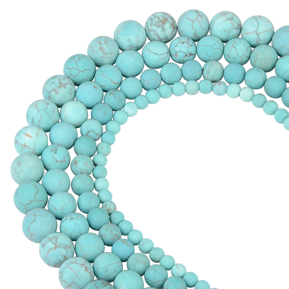 Chanfar Wholesale Round Tiger Eye Agate Amazonite Natural Loose Matte Gemstone Stone Beads for Jewelry Making