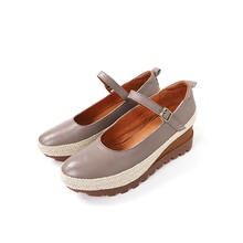 Wholesale Latest Fashion leather Casual Shoes  Latest Flat round toe Wedge Single Shoes Women