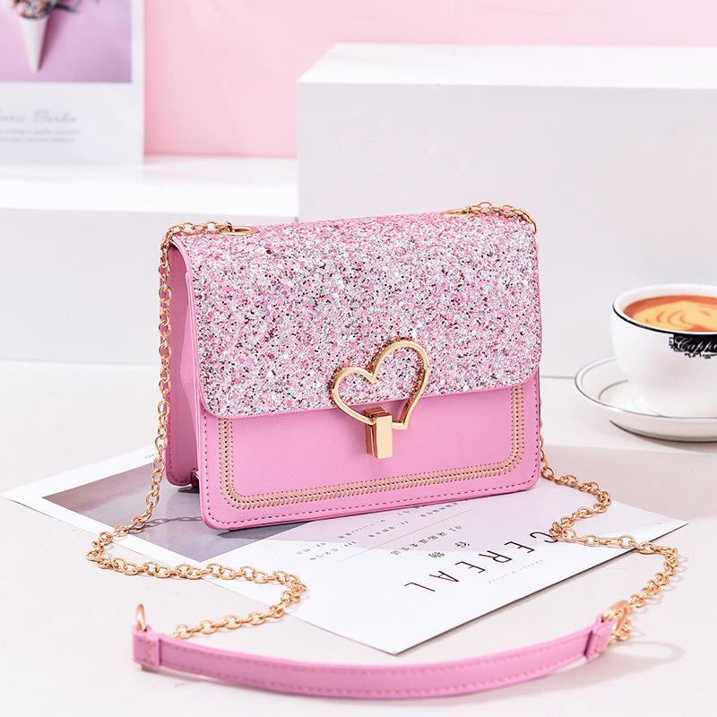 2020 New Arrivals Fashion Love button Pink Square Glitter Women Hand Bags Purses And Handbags Ladies