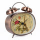 China Guangzhou Factory Stock Goods Copper Finishing Iron Metal Alarm Clock Double Bells Alarm Desktop Clock