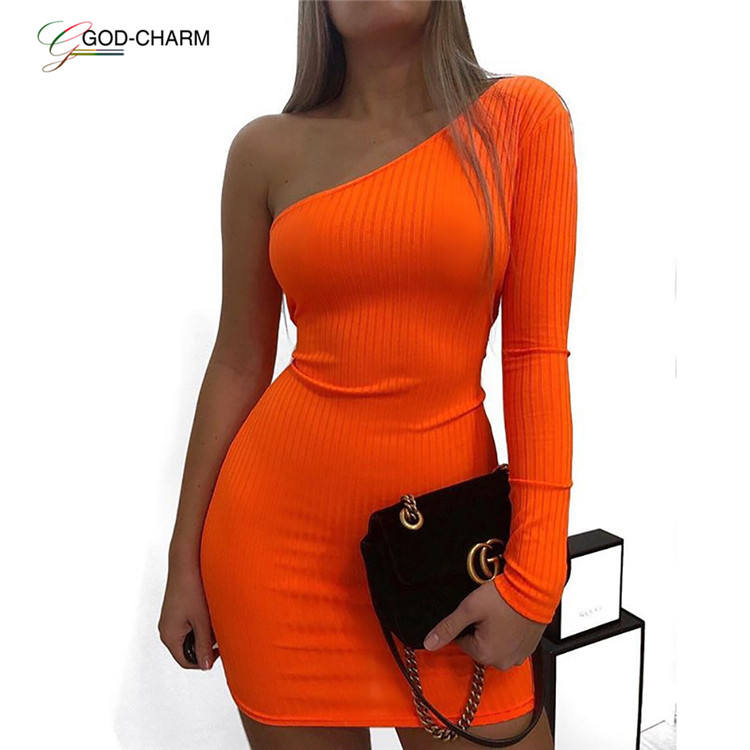 Neon Solid Fluorescent Orange Yellow Pink Black Off Shoulder Dress