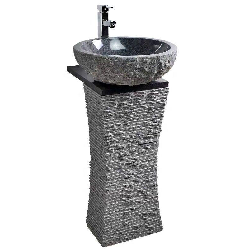 G654 Granite Natural Stone Garden Pedestal Bathroom Vanity Outdoor Wash Sink