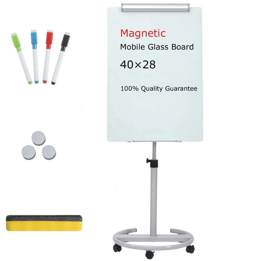 Glass Whiteboard - Magnetic Glass Dry Erase Board 40x28 Inches Mobile Glass Board, Height Adjustable Easel Board Flipchart Easel