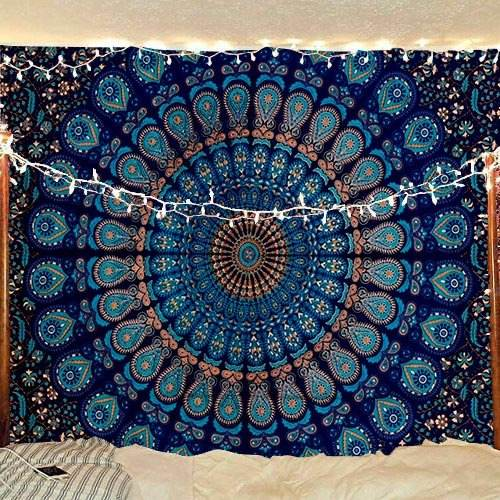 Ready To Ship Home Decor Mandala Grey Peacock Tapestries Indian Wall Hanging Tapestry