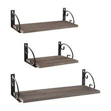 YG CRAFT Home Wall Shelf/ Industrial Rustic Wood Wall Pipe Floating Shelves with Real Wood for Anyroom