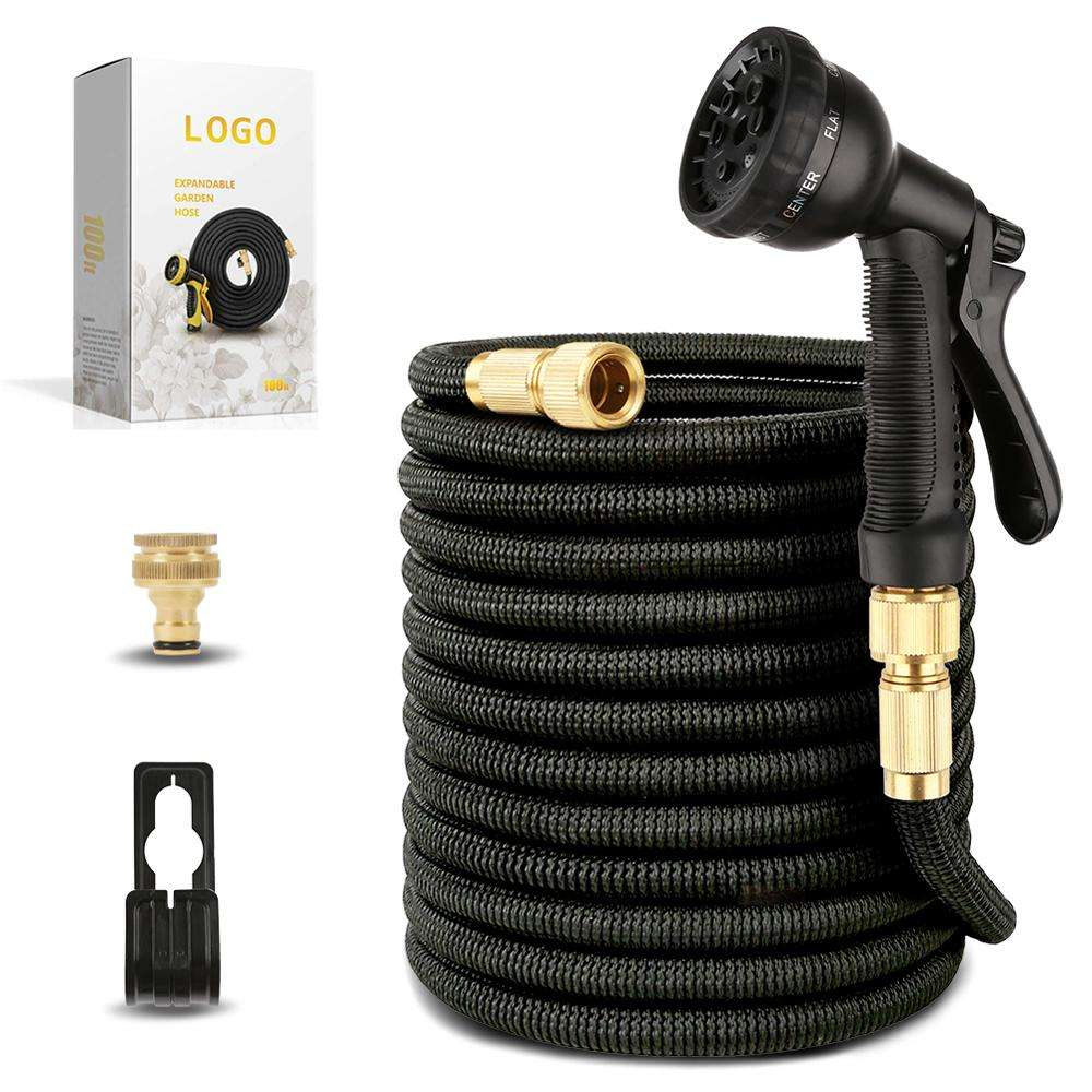 Extra Strong Stretch Material Expandable garden hose With Brass Connectors and 10 function spray gun