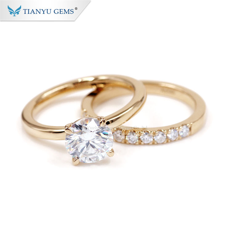 Tianyu au585 750 real yellow gold wedding rings 1.5ct moissanite engagement ring set for woman