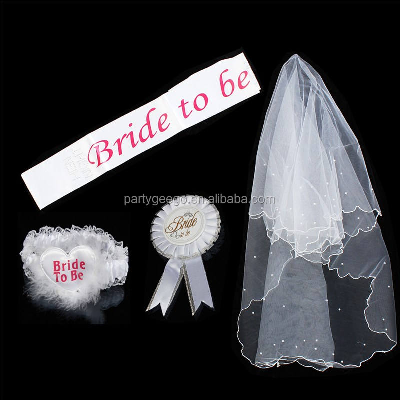 bachelorette hen party bride to be veil for wedding party Sash Set