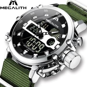 Top Brand MEGALITH Casual Business Watches for Men Luxury Military Leather Wristwatch Man Clock Sport Chronograph Wristwatch