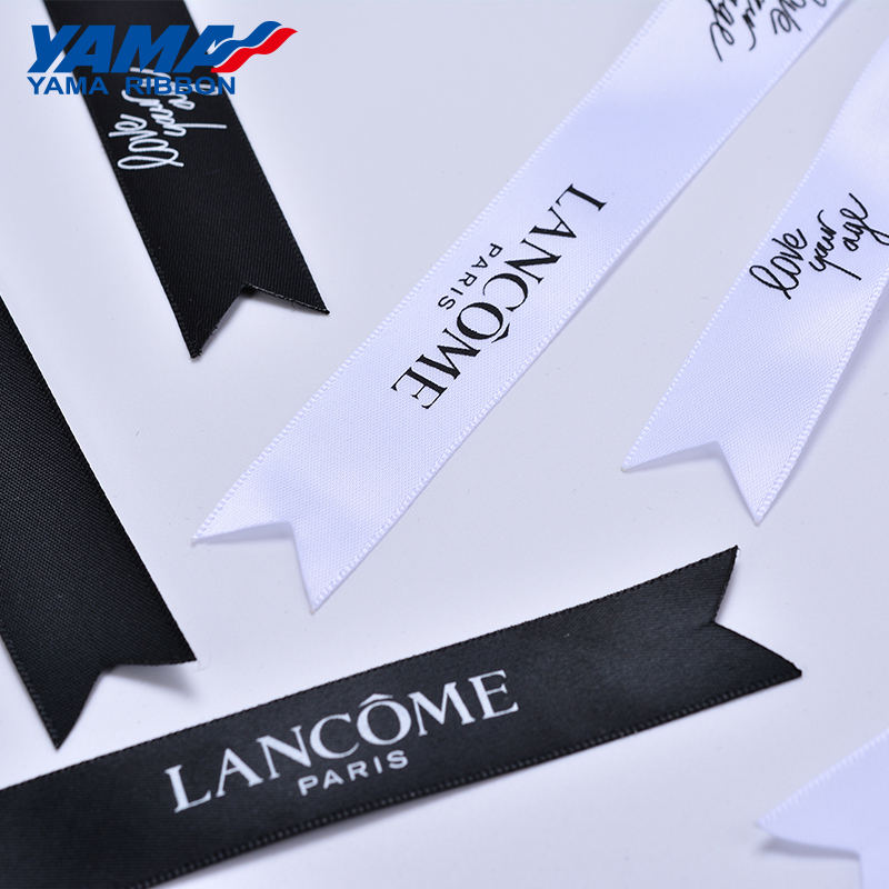 YAMA Factory Professional Customized Sizes Printed Satin Grosgrain Trimmed Ribbon Cutting