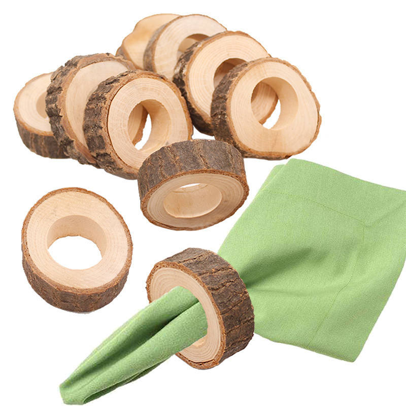 Stock on hand Unfinished Natural wooden napkin rings for Wedding table decoration