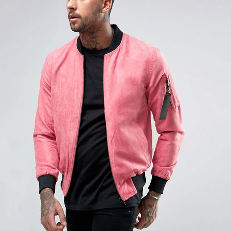 Top Custom Design In Pelle Scamosciata Bomber Giacca Per Gli <span class=keywords><strong>Uomini</strong></span> Pianura Rosa Giacca Invernale