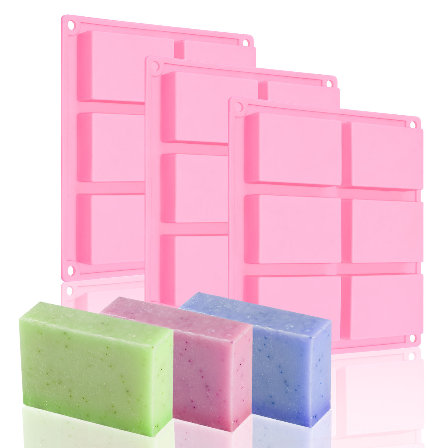 BHD Wholesale BPA free DIY Homemade 6 Cavity Rectangle Soap Making Soap Mold Silicone