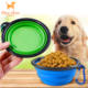 Stainless steel bowl with silicone lid dog
