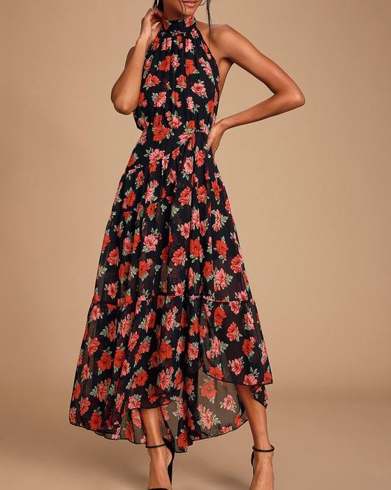latest Indian Designer Party Wear Printed Gown Floral Print Halter Sexy Maxi Dress