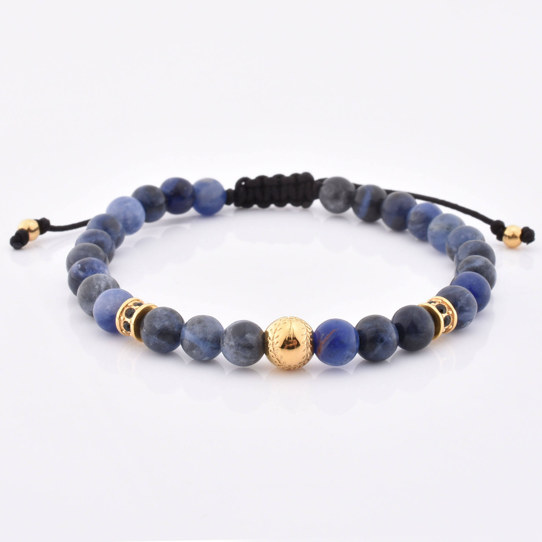 Regolabile In Acciaio Inox Bead Opaco <span class=keywords><strong>Sodalite</strong></span> Perline Fatti A Mano <span class=keywords><strong>Braccialetto</strong></span> Personalizzato