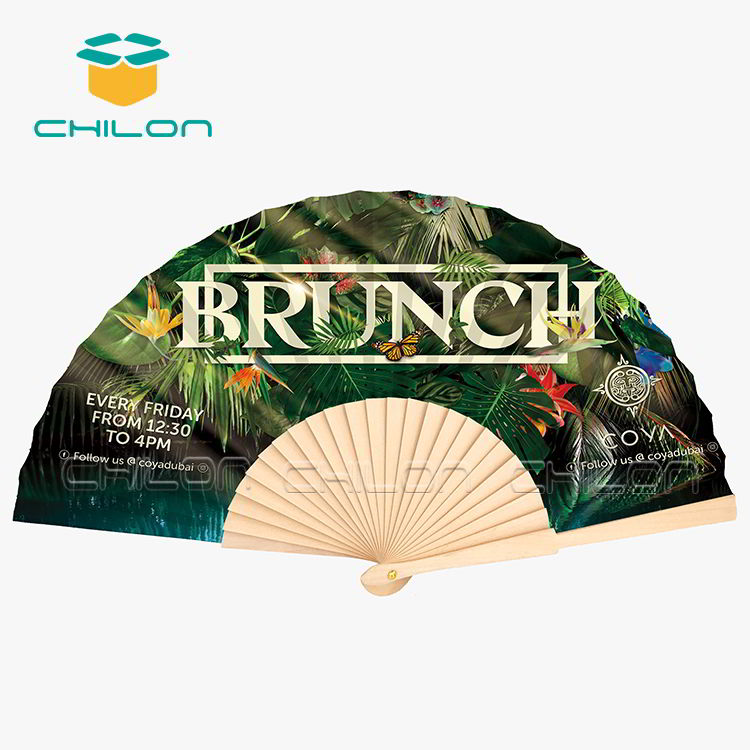 Handicraft Wooden Hand Fan Customized Printing Decoration Fan Wooden Hand Held Paper Fan