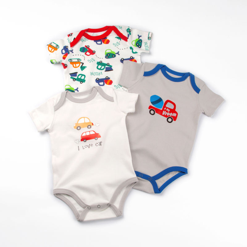 organic cotton newborn baby clothes 3 pack custom printed baby wear short sleeve baby girl bodysuit