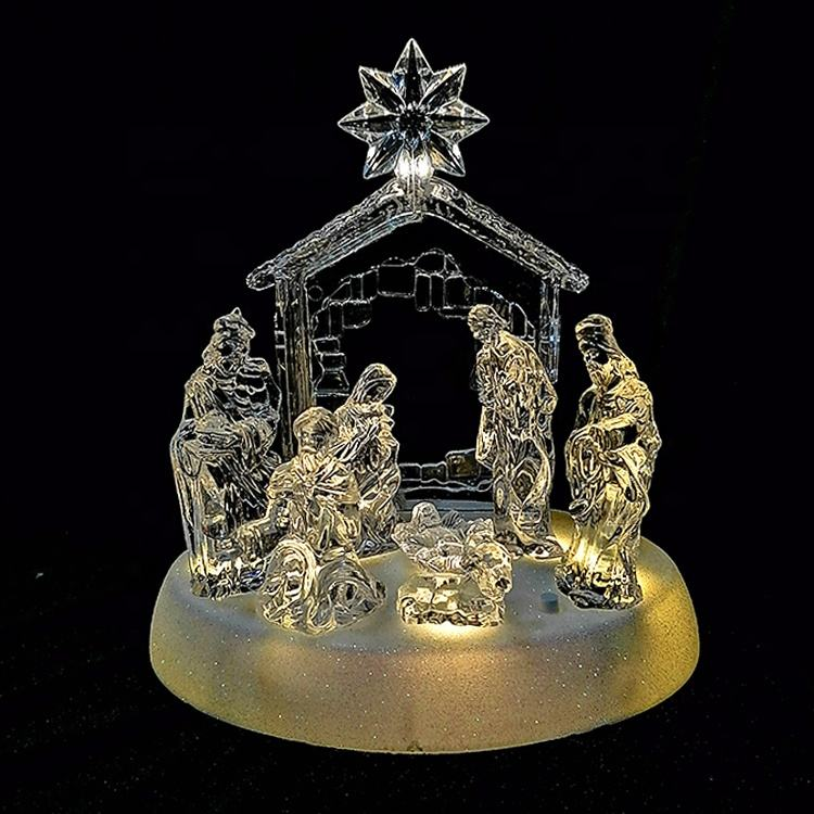 Luminous Crystal Jesus Birth Scene Music Box, Glass Christmas Decoration Music Box, Led Musical Nativity