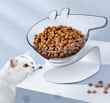 New Transparent Anti-slip Cat Food Dish Pet Feeder Pet Cats Water Bowl with Holder