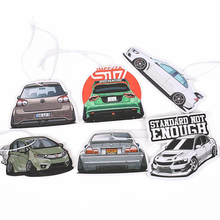 Cheap promotional custom paper car air freshener hanging with sealed plastic opp bag