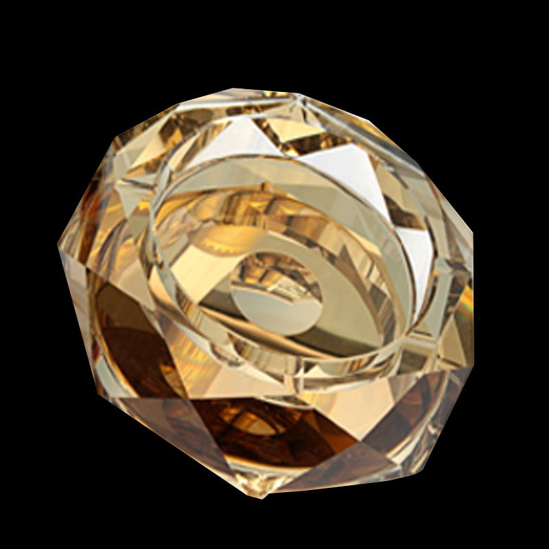 K9 High Quality Octagonal Luxury Gold custom Color Crystal Ashtray For Business Gift