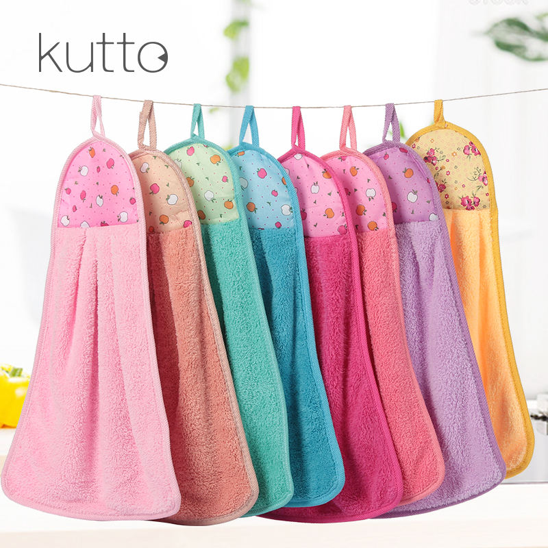 Wholesale colorful kitchen towel hanging cleaning absorbent hand towels with loop