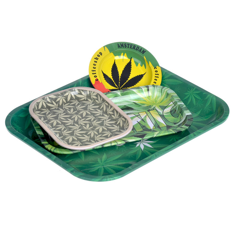 Large raw tray 27 cm rolling trays cheap price round metal tin ashtray ready to ship custom metal ash tray China manufacturer