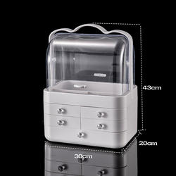 Dust-proof three-layer +Cosmetic storage box