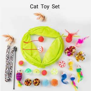 2020 New Style Whosale Cat Toy Sets 21 Pack in Cat Tunnel Cat Ball Kitty Teaser