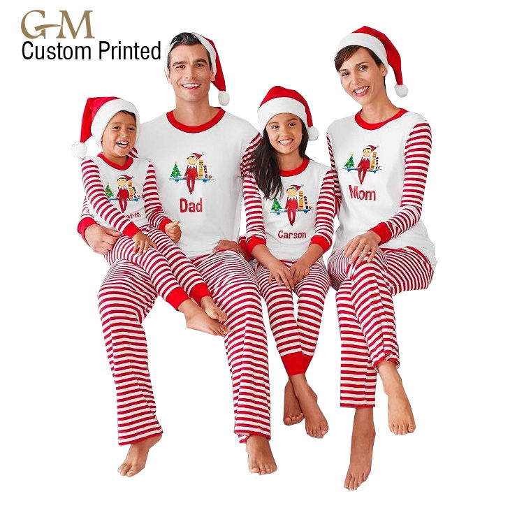 Wholesale 2019 red striped Christmas Halloween holiday matching family christmas pajamas
