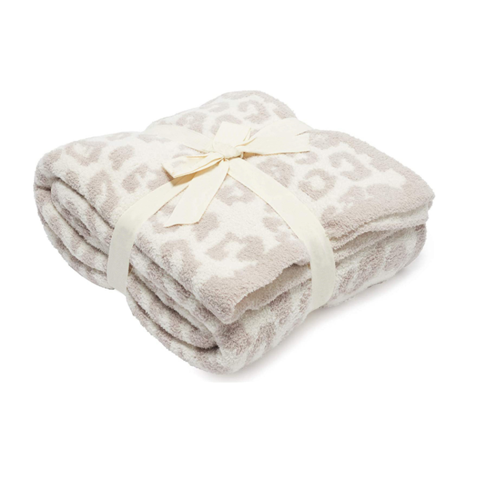 Barefoot Dreams 100% polyester knit leopard stone white cozy blanket