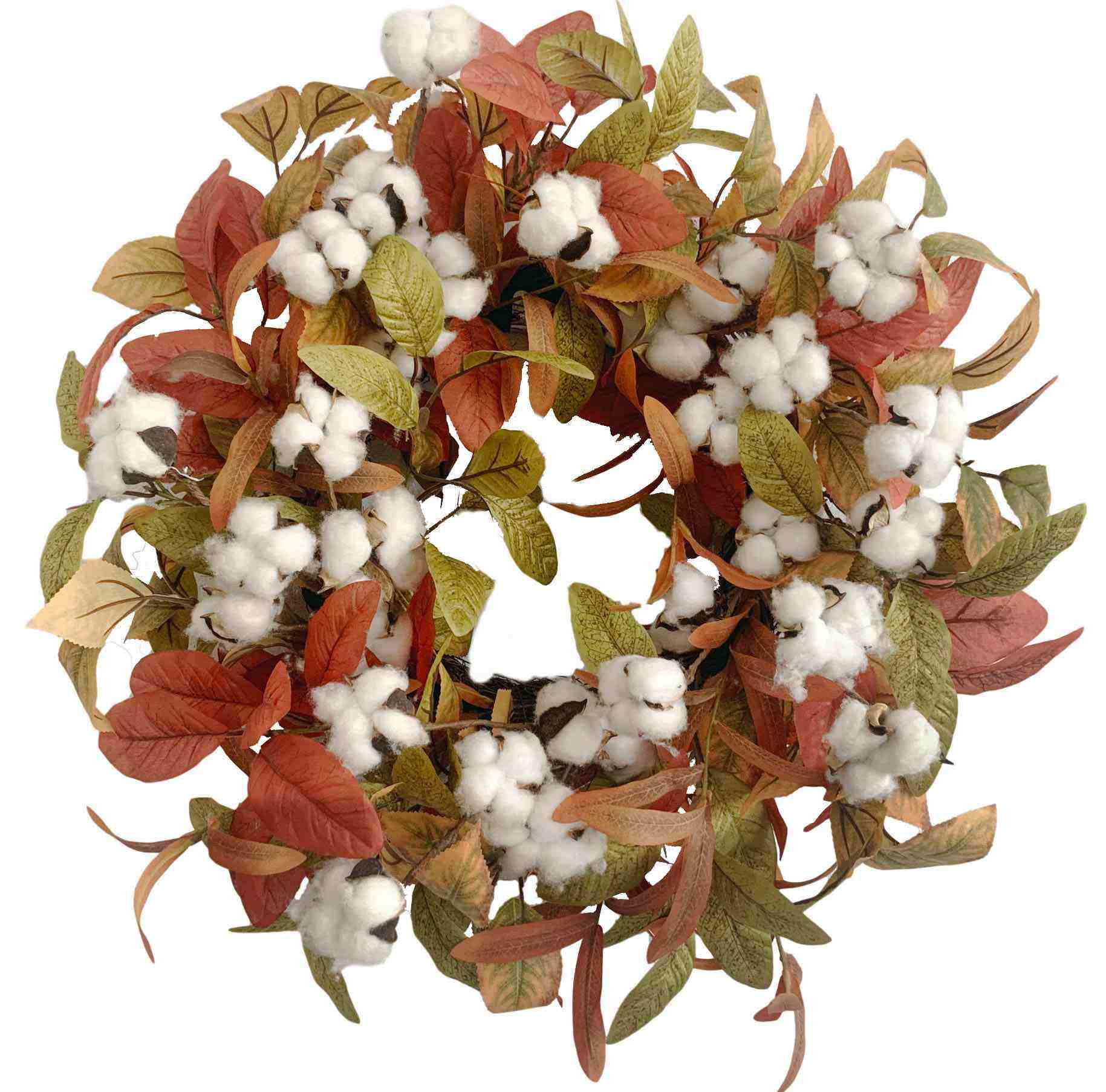 Plastic Fall Olive Magnolia Leaves & Cotton Autumn Harvest Wreath Craft Supplies Wreaths With Low Price