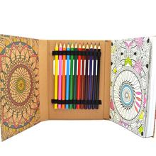 High quality hot sale oem coloring book set with 12 color pencils for adult