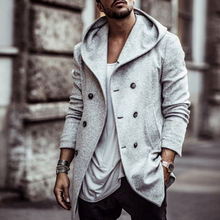 Plus Size Office Solid Side Pockets Double Breasted Hooded Wool Coat Men Trench Winter Coat Hoodies Long Coats For Men Overcoat