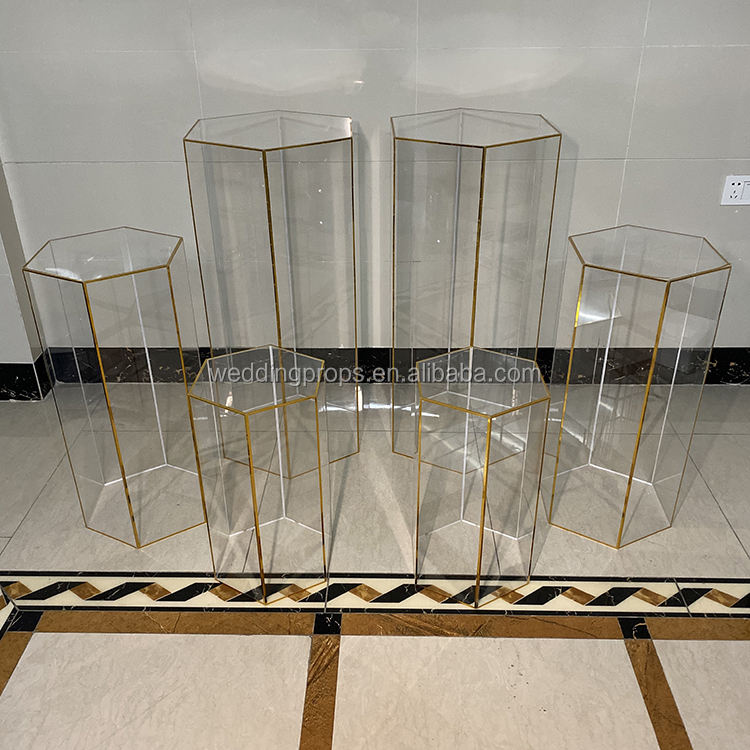Aangepaste Bruiloft Display Stand Clear <span class=keywords><strong>Acryl</strong></span> Hexagon Plinths Met Gold Trim