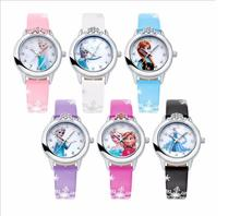 Disneyy Frozen Elsa Anna Children's Cartoon Cute Watch Boys and Girls Princess Leather Belt Quartz Kids Watches